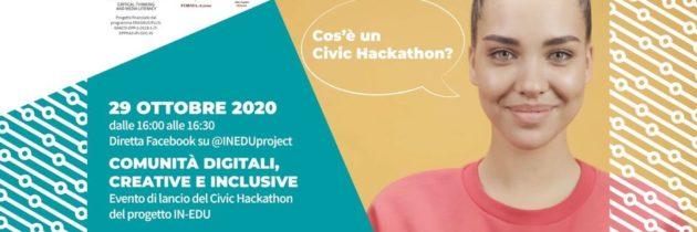 """""""HackforInclusion"""" il Civic Hackathon del progetto IN-EDU si terrà l'8 e 9 Gennaio 2021"""