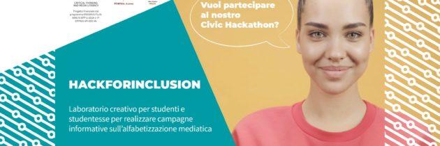 """""""HackforInclusion"""" Restano aperte fino all'8 dicembre 2020 le iscrizioni al civic hackathon italiano, per studenti delle scuole secondarie, del progetto IN-EDU che si terrà on line l'8 e 9 Gennaio 2021"""